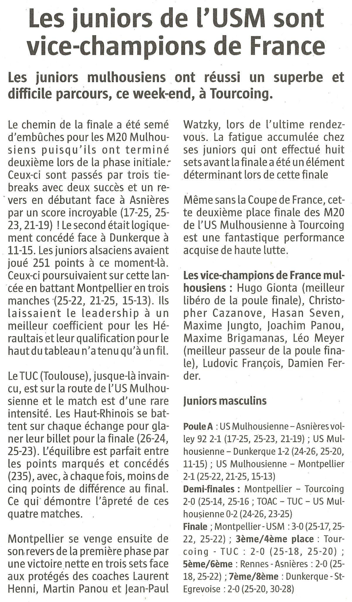 Les juniors de l'USM sont vice-champions de France
