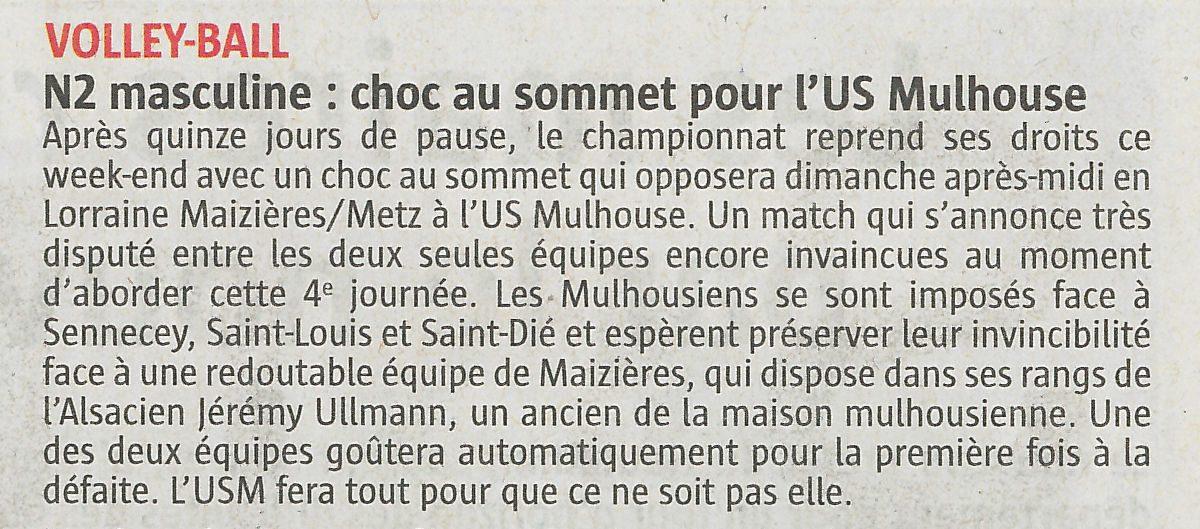 N2 masculine : choc au sommet pour l'US Mulhouse